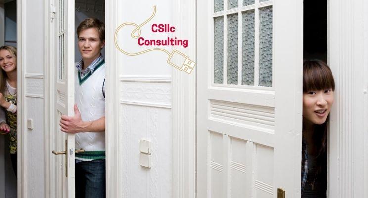 photo of multiple open doors with people peeking in