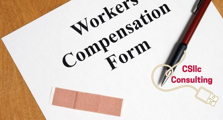 "graphic that says ""workers compensation form"" with a pen and bandage"