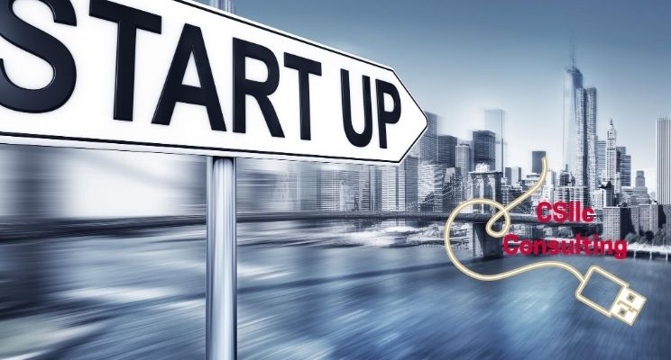 """graphic of sign saying """"Start Up"""" and pointing to an urban downtown business area"""