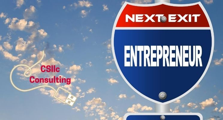 """graphic of road sign that says """"next exit entrepreneur"""""""