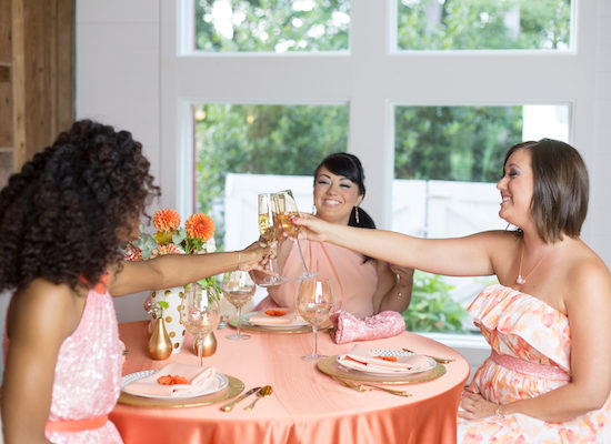 Bridesmaids Luncheon - Bridesmaids - North Carolina Wedding Planner - northCarolina event Planner - Orange and Pink decor