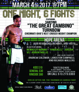 Professional Boxing event flyer gambino