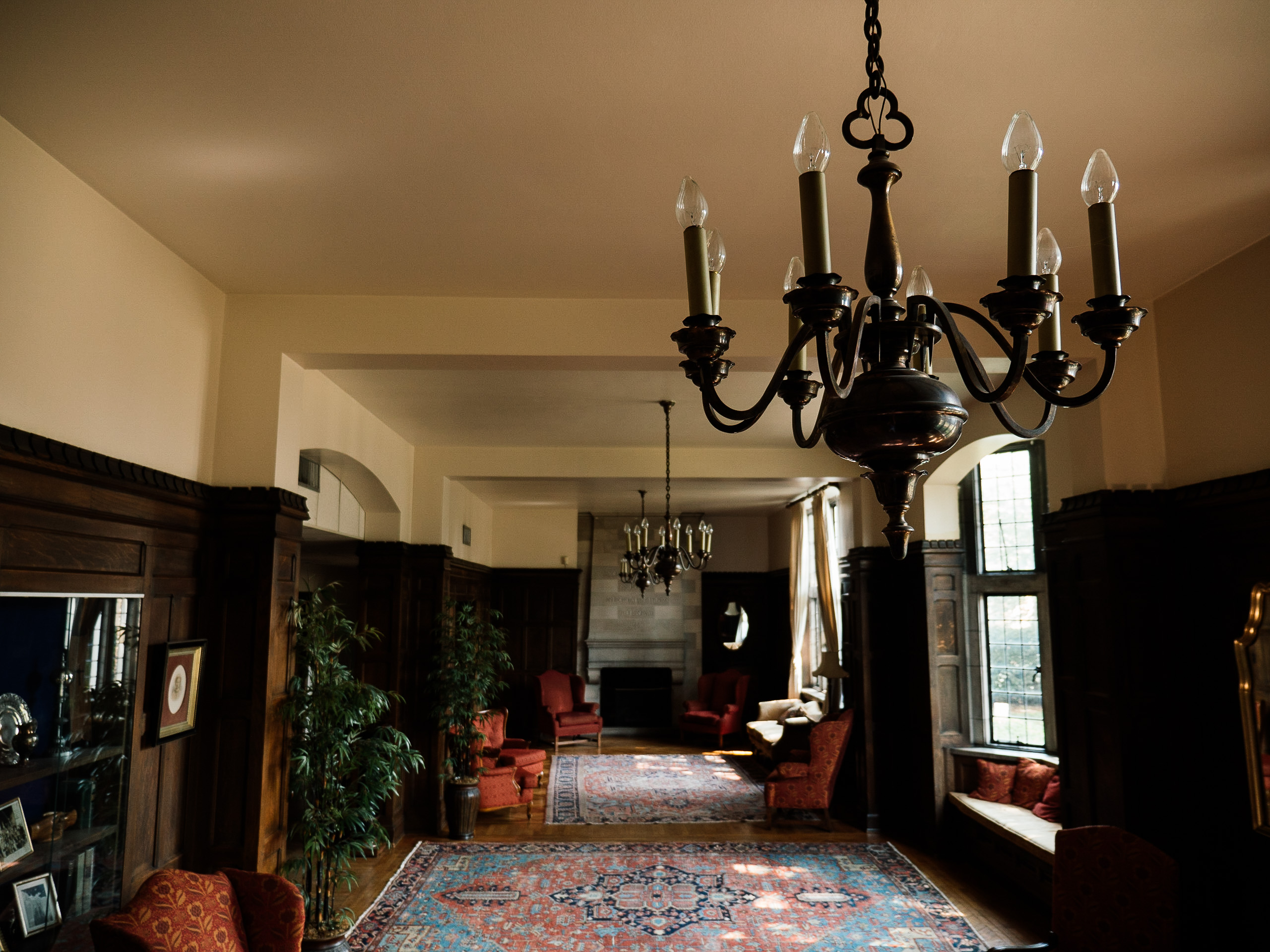 long view of historical room with chandelier