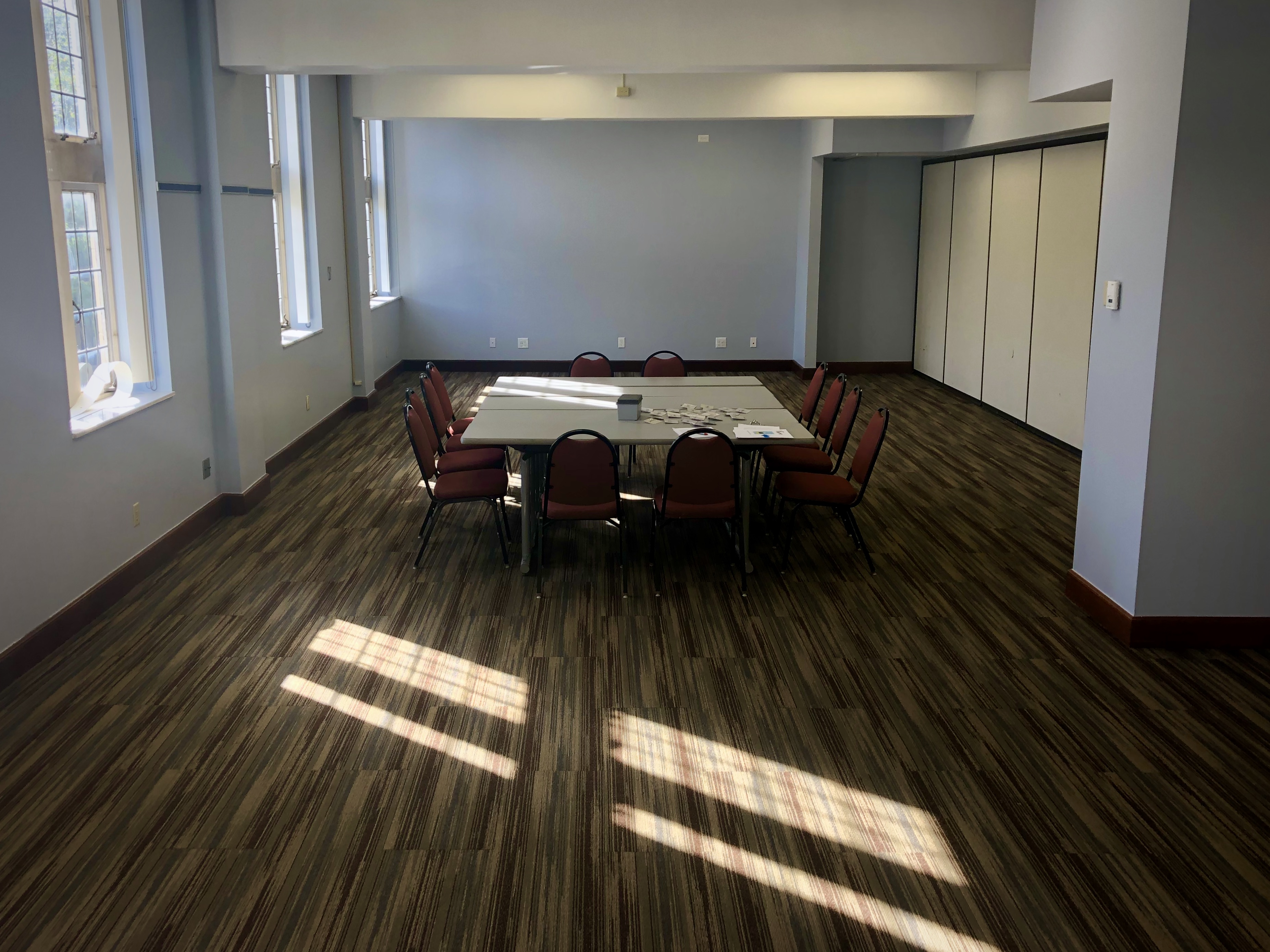 Large room with conference table and chairs