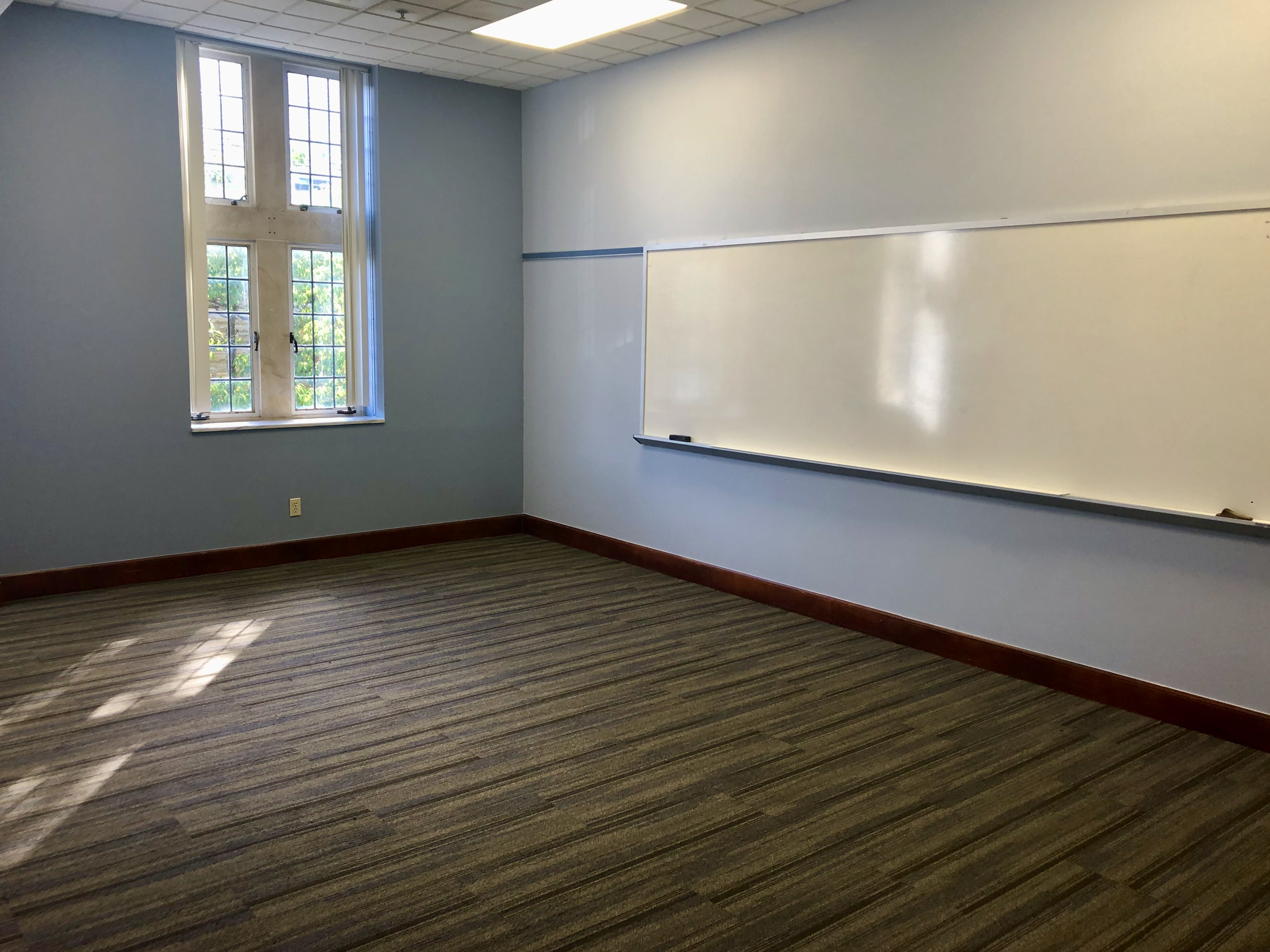 Small classroom with white board
