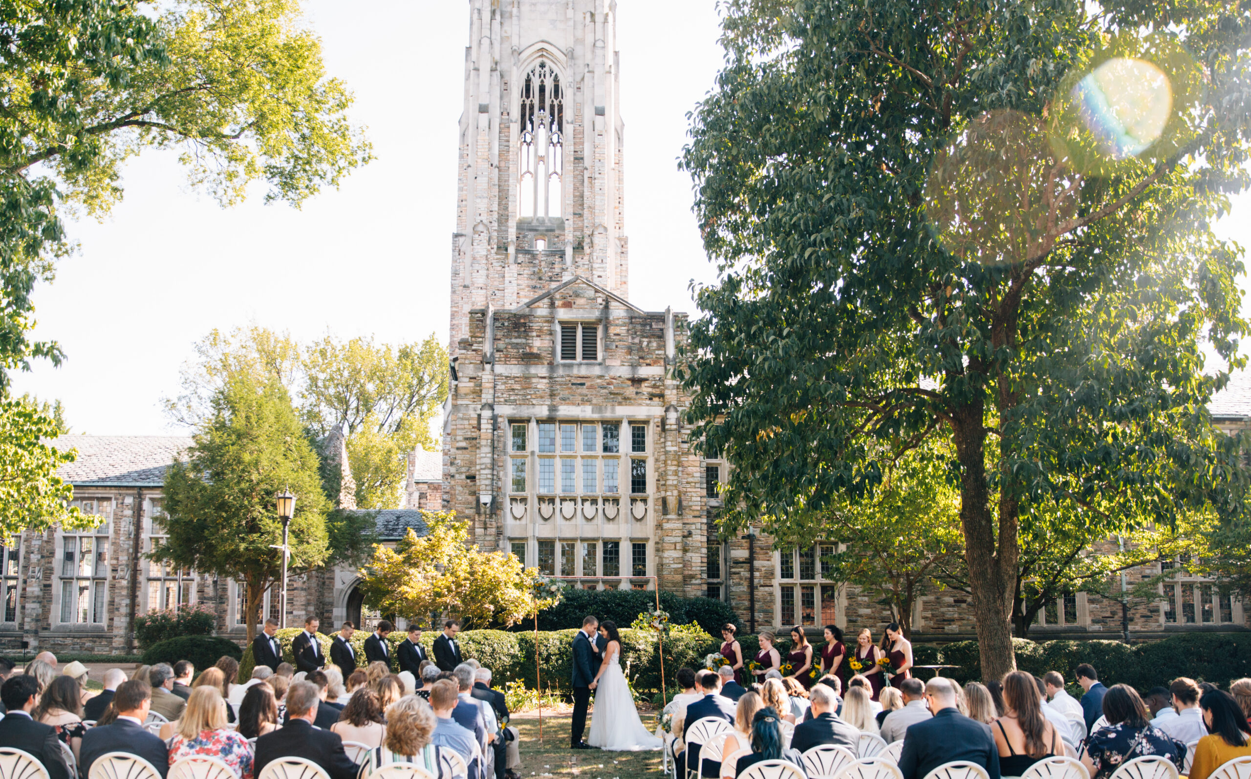 Garden wedding set in the labyrinth overlooking the historic bell tower