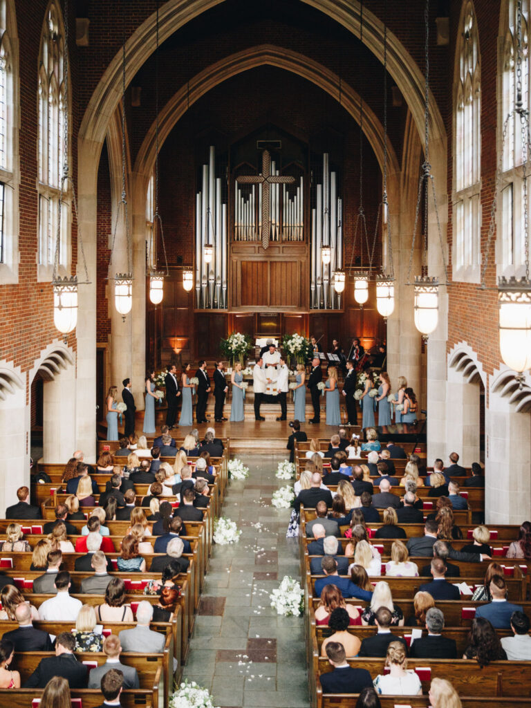 Couple getting married in chapel
