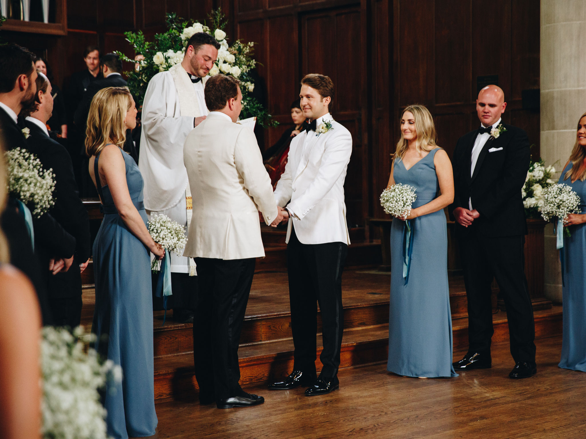 Two grooms marrying in Wightman Chapel