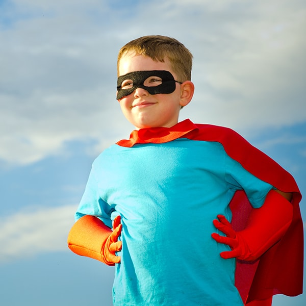Boy Pretending to be a Superhero