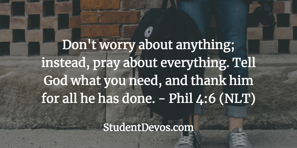 Daily Bible Verse and Devotion for Teens Youth on Stress, Worry Anxiety