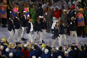Refugee Team Marches in Olympic Opening Ceremonies