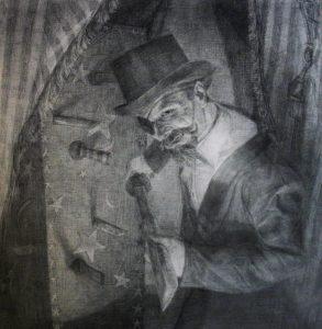 "Shaun Roberts, Hornswoggler study, graphite on paper, 48""x 48"" 2012"