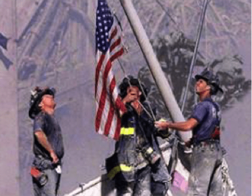 9/11 Firemen and Flag