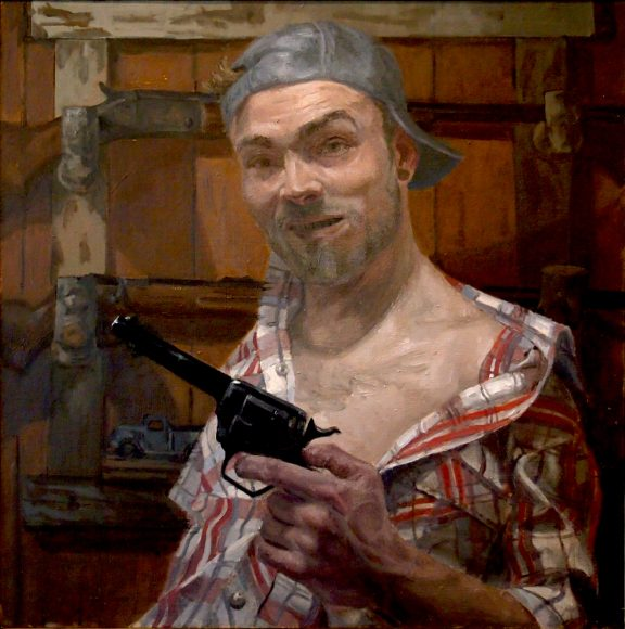 "Shaun Roberts, Come and Take It, oil on canvas 24""x24"" 2015"
