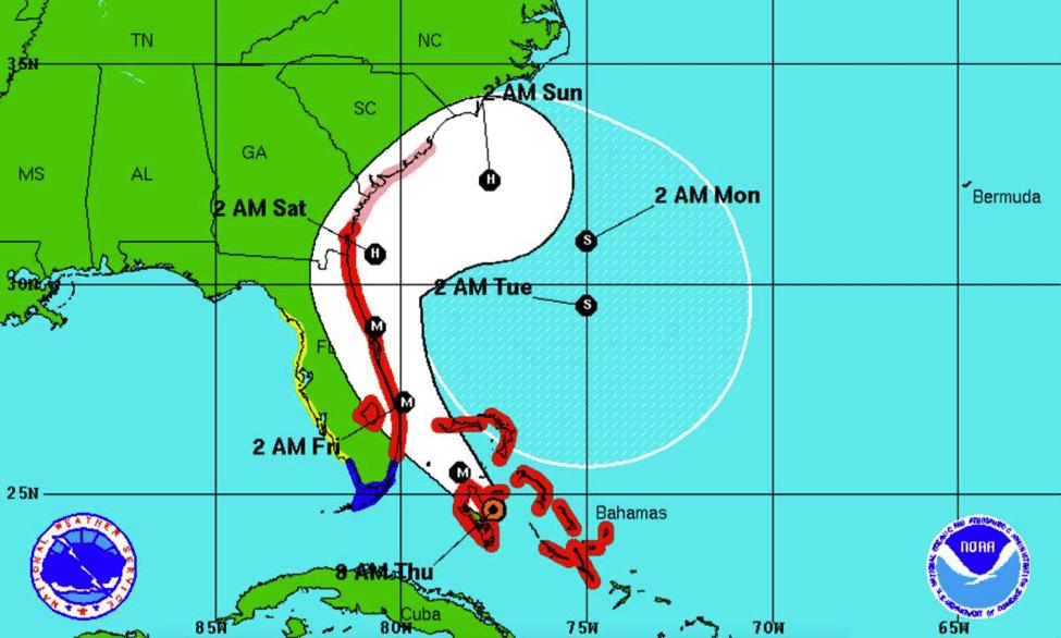 Map of Hurricane Matthew