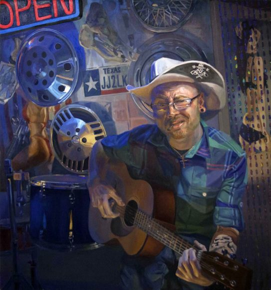 "Shaun Roberts, Troubadour, oil on canvas 92""x86"" 2012"