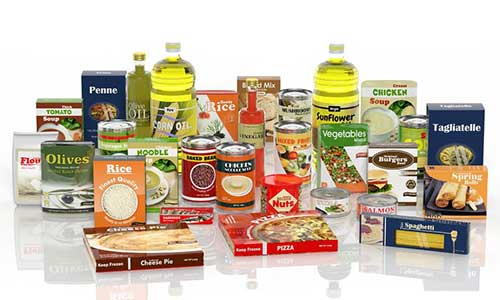 Large Group of Packaged Foods