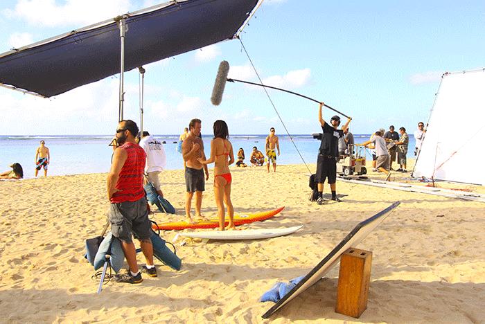 Hawaii-Five-0-on-location on the beach
