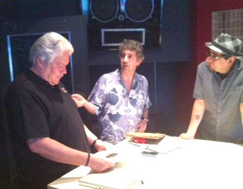 Slack key master Keola Beamer, director Alexander Payne and music supervisor Dondi Bastone