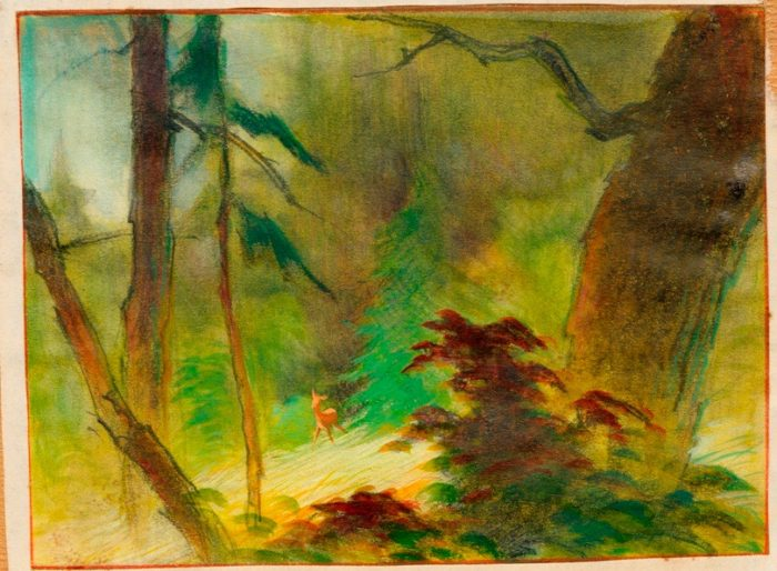 Tyrus Wong, Bambi (visual development), 1942; watercolor on paper; Courtesy of Mike Glad © Disney