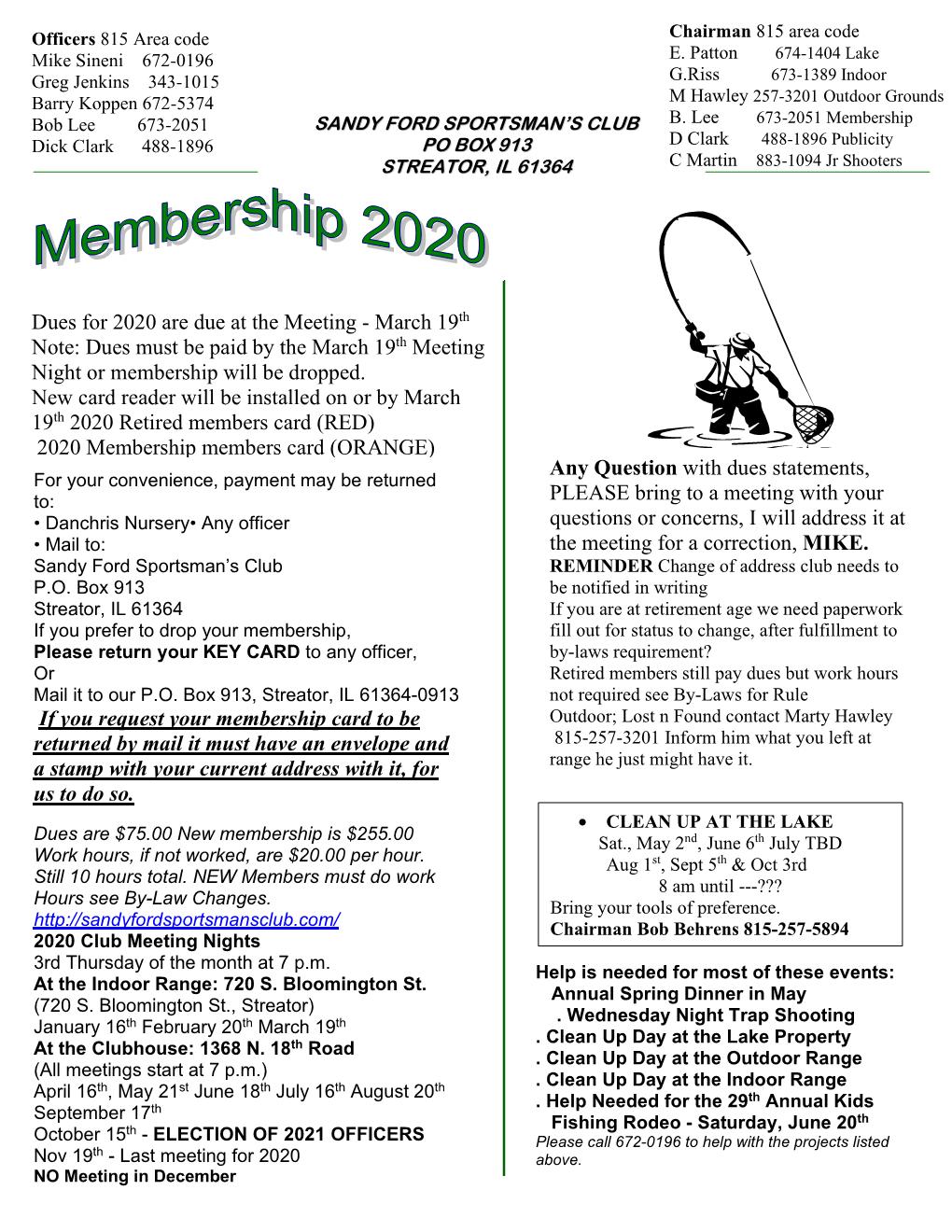 Fall Membership 2020 newsletter pg1