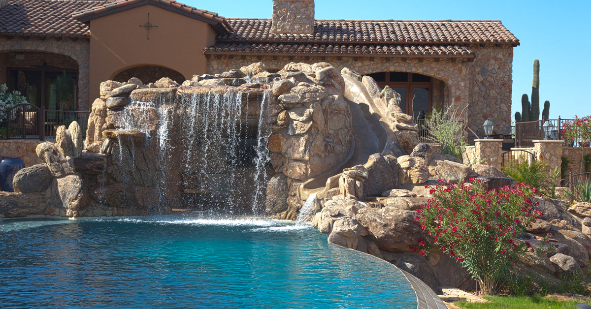Swimming Pool Waterfalls Construction Phoenix Az Area No Limit Poolsno Limit Pools