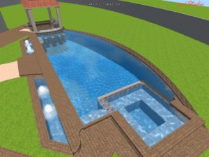 Pool and Hot Tub Combo Designs / Rectangular Pool With In-Built Hot Tub