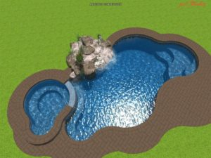 Astounding Inground Pool and Hot Tub Combo Designs \ Kidney Shaped Pool with Circular Hot Tub