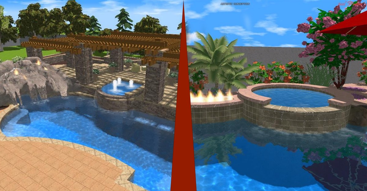 Astounding Inground Pool and Hot Tub Combo Designs
