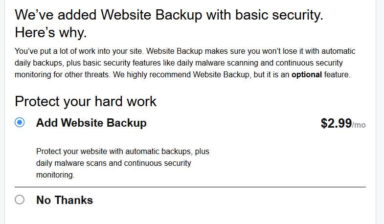 Website Backup Shopping