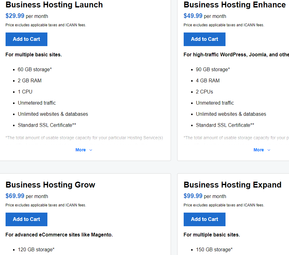 Buy business hosting services