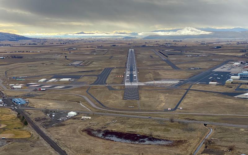 Aerial view of Precision Aviation Training runway in Klamath Falls, Oregon