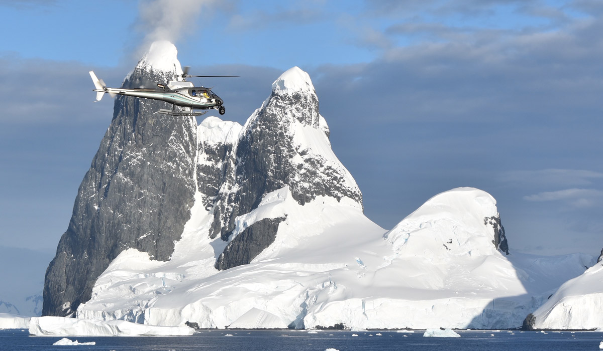Precision helicopter flying around Antarctica
