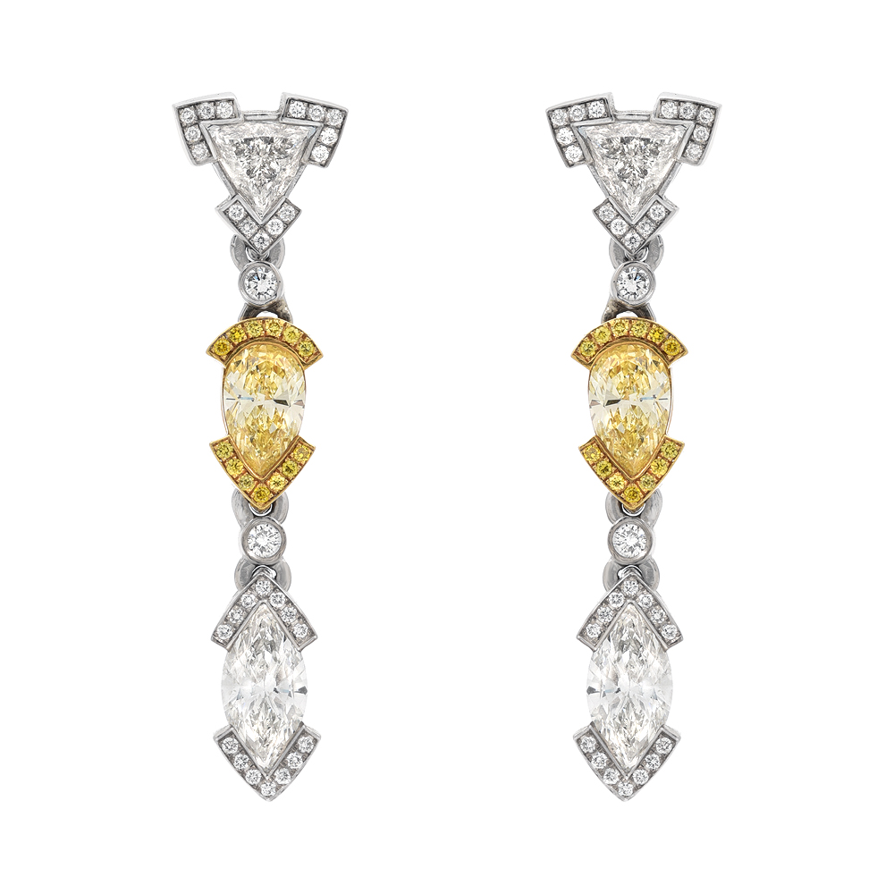 Diamond Fancy Shape Drop Earrings