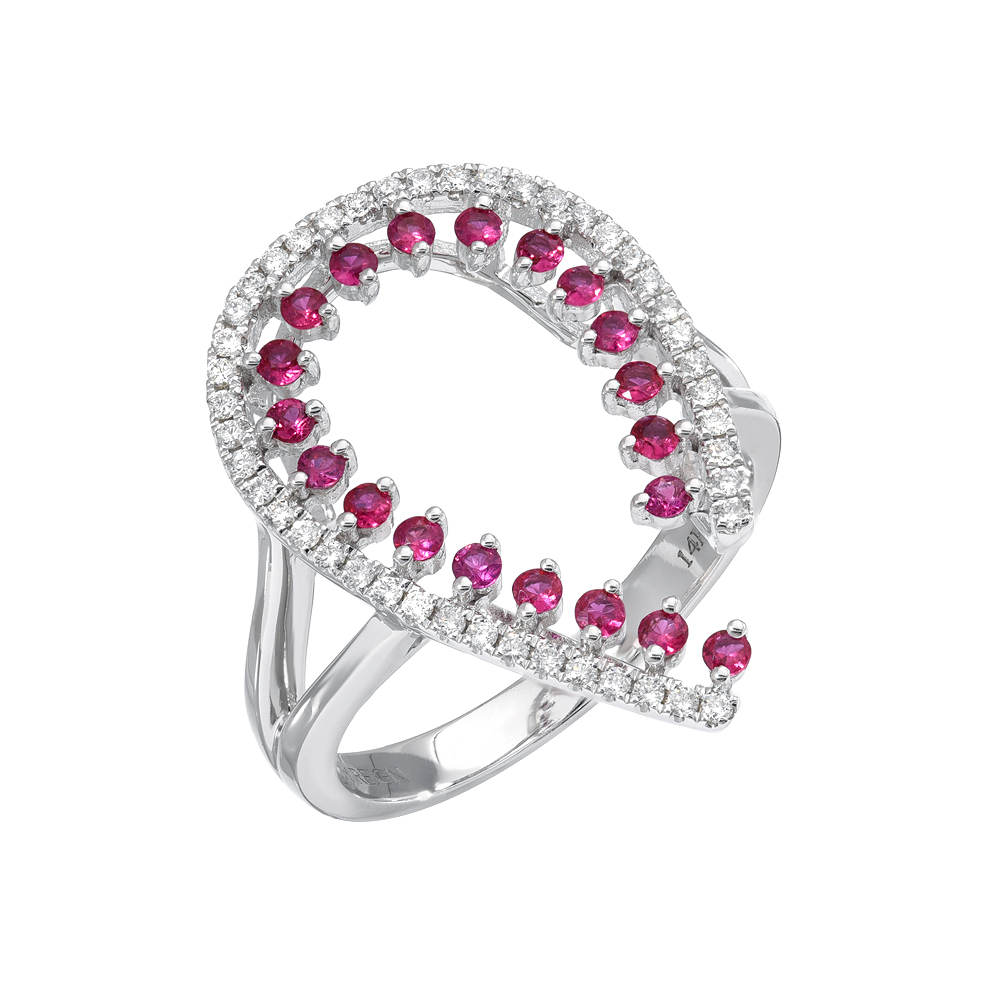 Modern Red Rubies Cocktail Ring