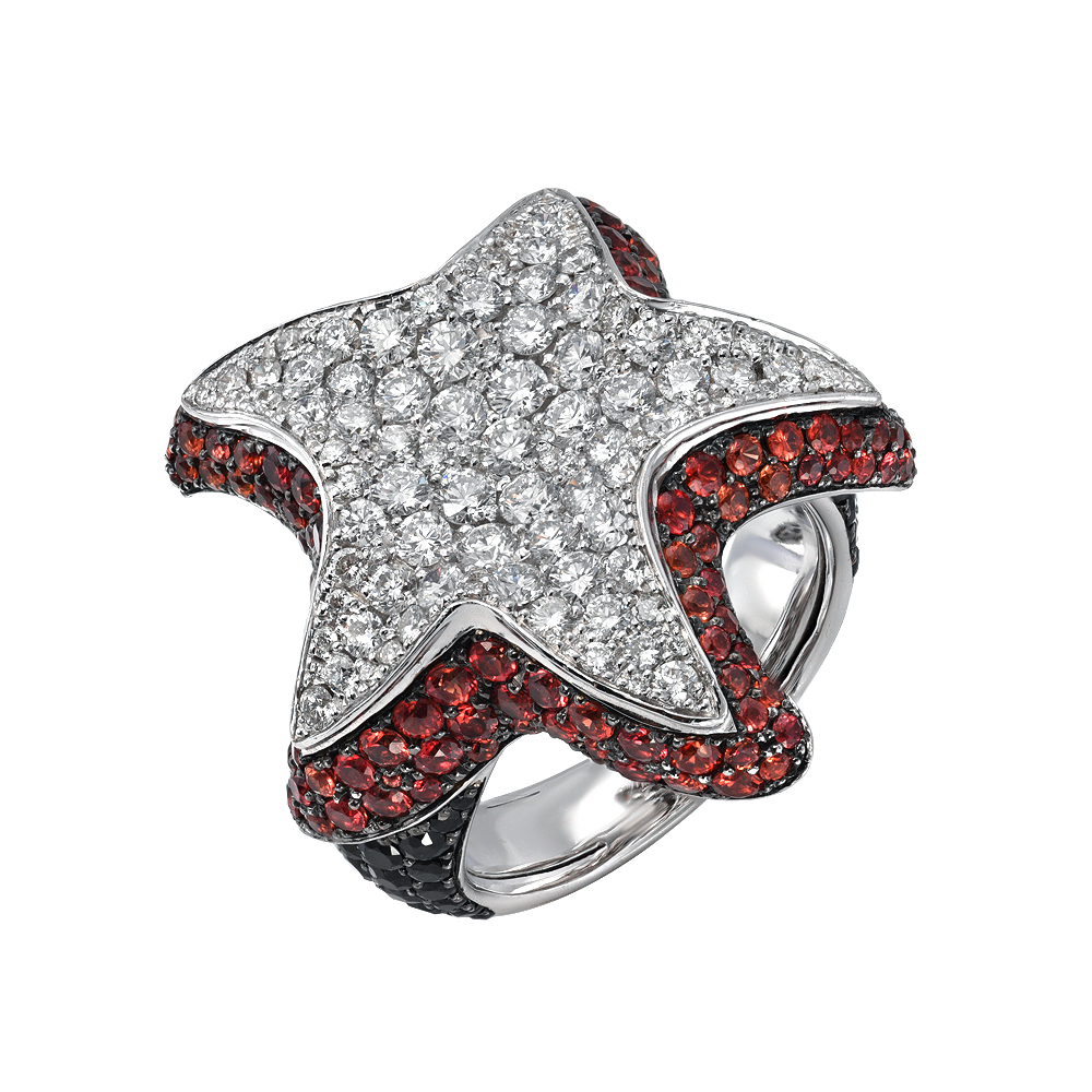 Starfish Diamond And sapphires Ring