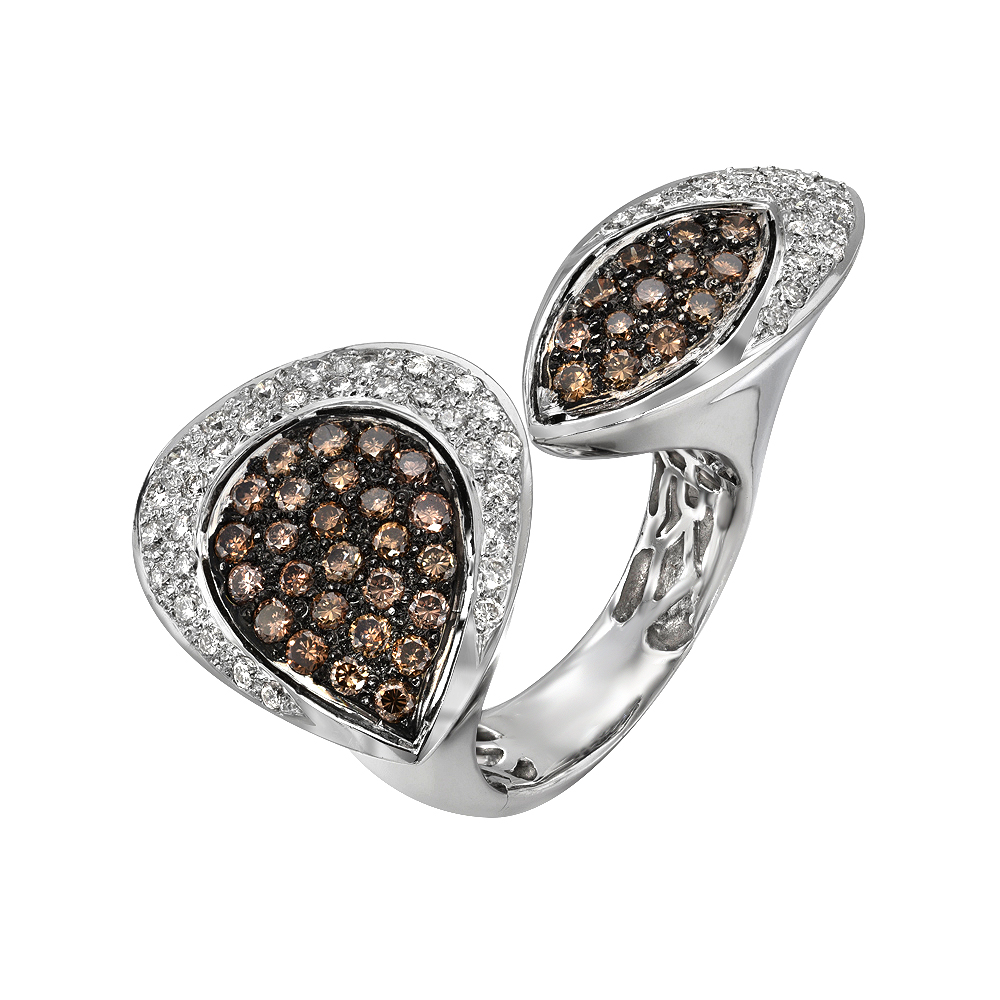 Twin Ring with Brown & White Diamonds