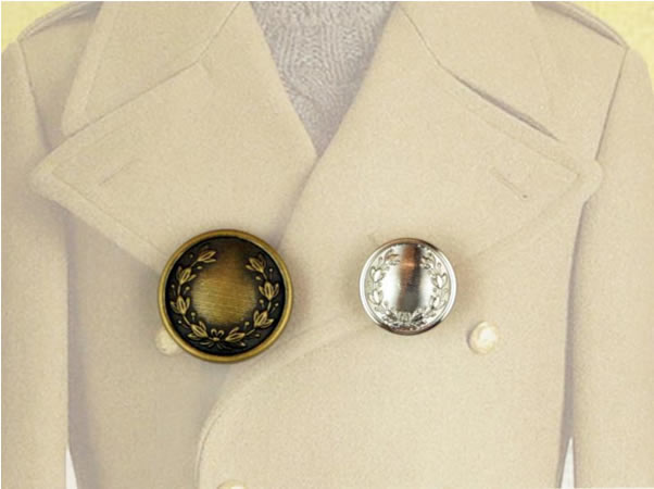 Make your coat a Crowning achievement with a Laurel Motif Button
