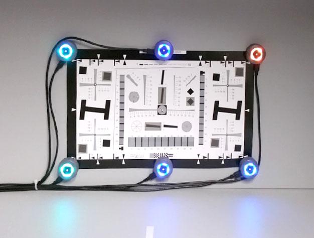 Test chart with light sensors