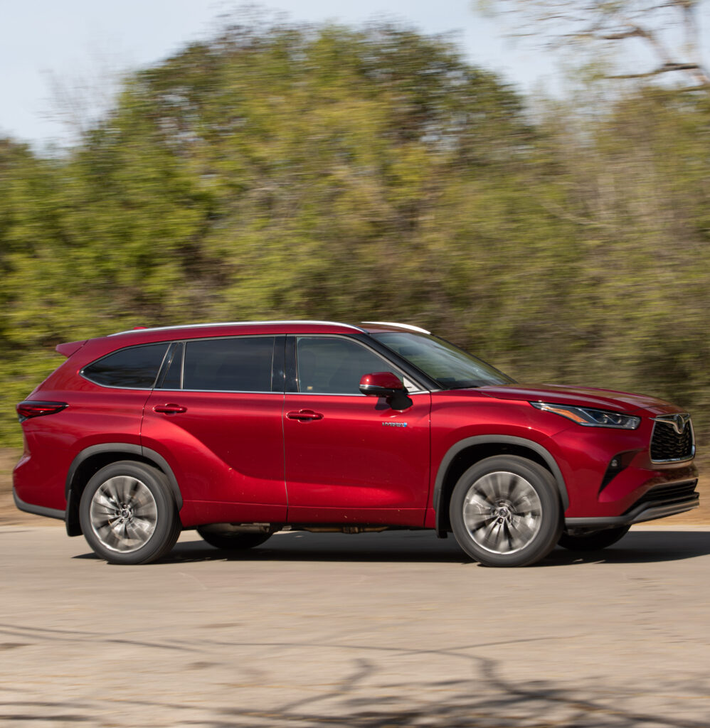 Red 2020 Highlander Hybrid Side-View Driving  BEST Road-Trip Cars of 2020
