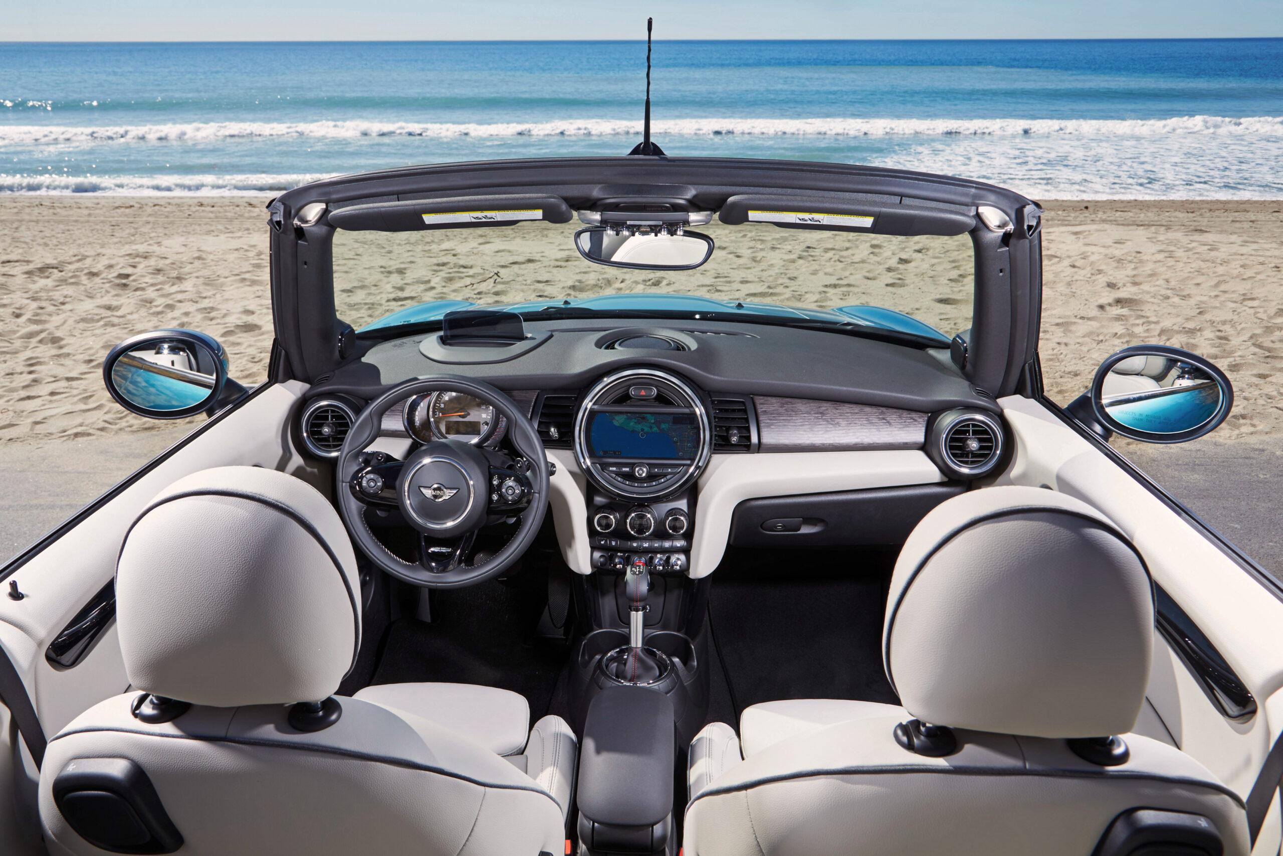 2021 Mini Cooper Convertible white ivory interior, Aqua Caribbean blue exterior -  facing beach   BEST Road-Trip Cars of 2020