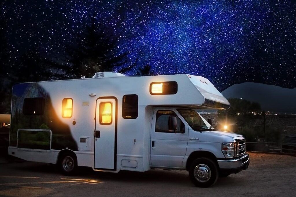 Motor-home RV at night (side view) - BEST Road-Trip Cars of 2020