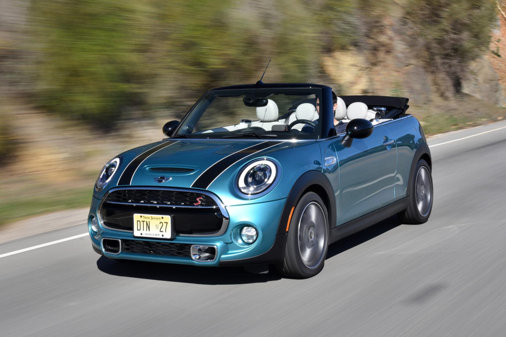 2021 Mini Cooper Convertible driving top down (front 3/4 view) - Caribbean Aqua  BEST Road-Trip Cars of 2020
