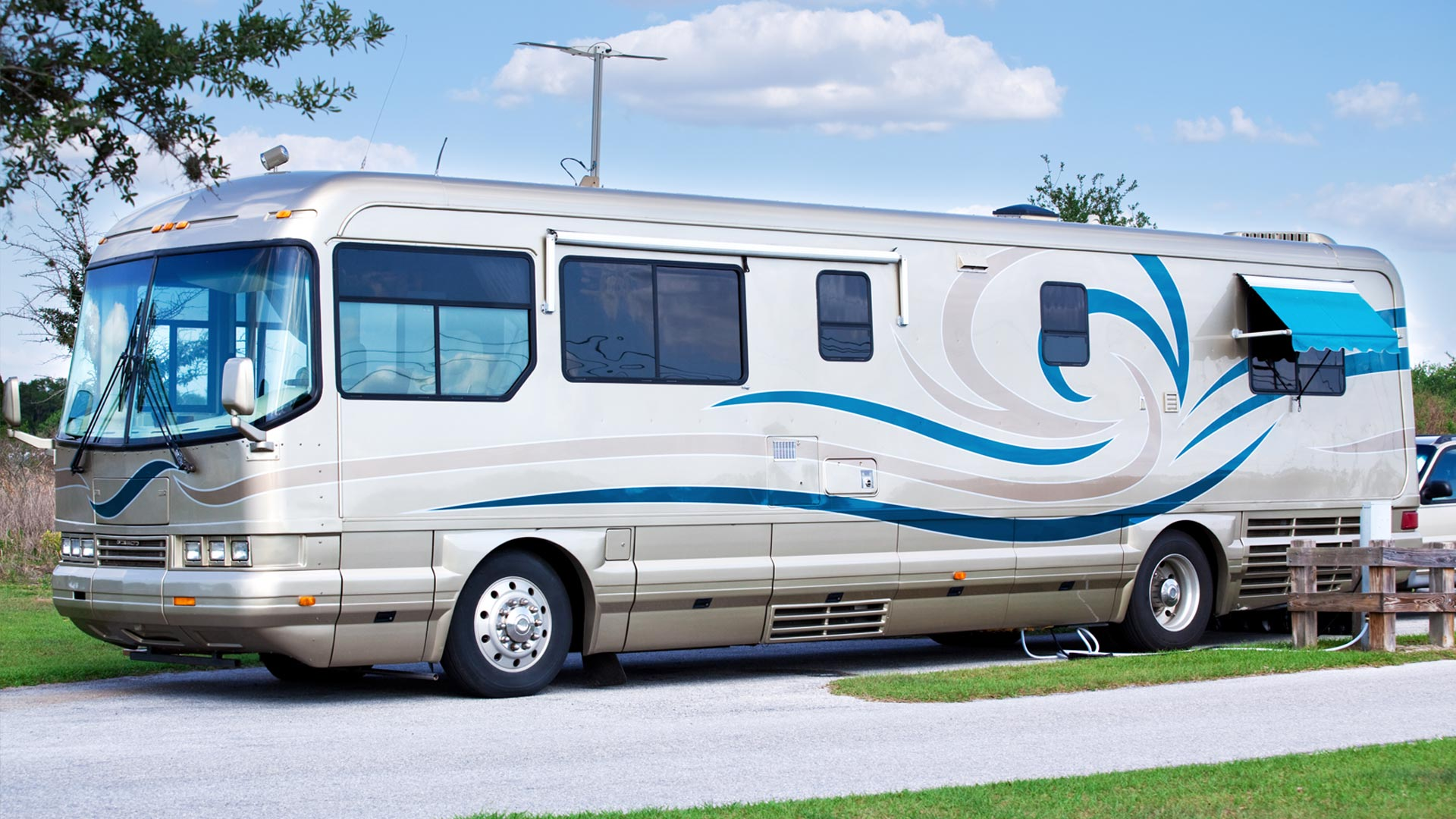 An RV with our RV city water inlet