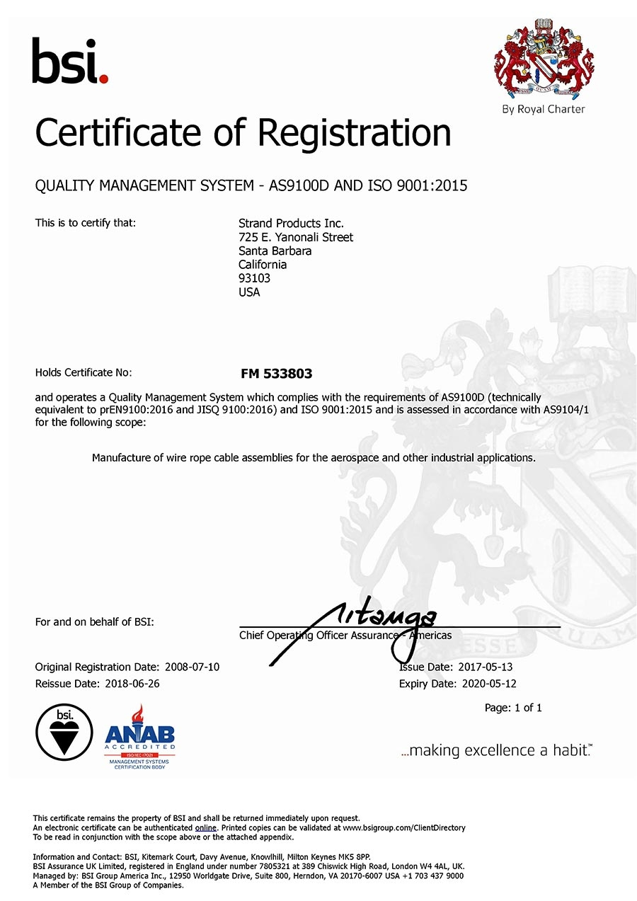 AS9100 Rev. D   ISO 9001:2015 Certification for Manufacture of Wire Rope Cable Assemblies
