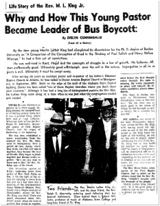 "Evelyn Cunningham's  articles included a 1956 series called ""Life Story of the Rev. M.L. King Jr.: Why and How This Young Pastor Became Leader of Bus Boycott."""