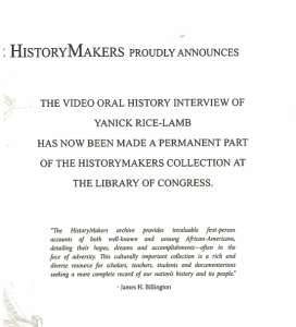 HistoryMakers Certificate