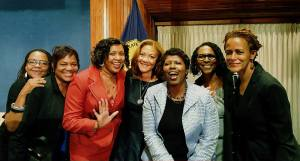 From left: Journalists Donna Britt, Mireille Grangenois, Sonya Ross, Michele Norris, Gwen Ifill, Lynne Adrine and Marilyn Milloy at the National Press Club to celebrate Ifill receiving the Fourth Estate Award.(Photo courtesy of Sonya Ross)