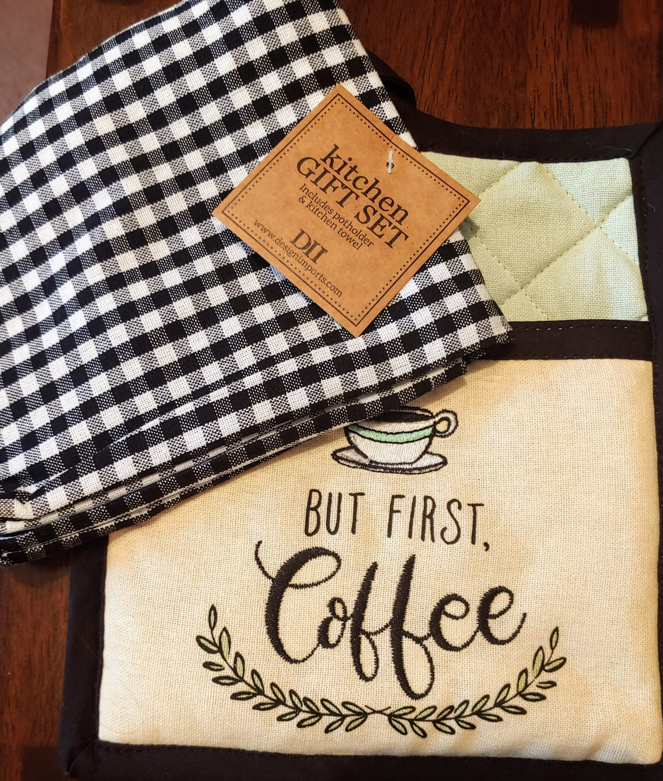 But First Coffee – Embroidered Towel Set
