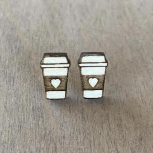 coffee cup stud earrings